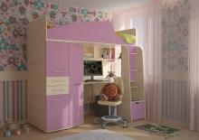 Кровать чердак детская с фасадами МДФ каталог, Кровать детская с фасадами МДФ фотографии
