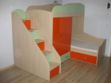 Угловая двухъярусная кровать, заказать двухъярусную кровать углом