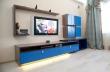 Заказать мебельную стенку с синими глянцевыми фасадами, Каталог мебельных стенок с синими глянцевыми фасадами