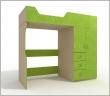 Кровать-чердак с оригинальным шкафом, оригинальная детская кровать